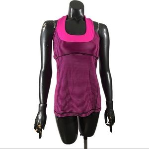 Lululemon Scoop Neck Tank Hyper Stripe Raspberry